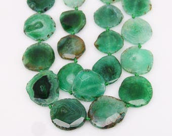 Full Strand,Faceted Green Dragon Veins Agate Slab Beads,Raw Natural Fire Agate Pendant Jewelry in Random Shape,About 9PCS,30-35x38-45mm