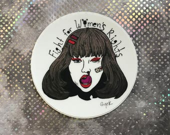 Discounted OLD VERSION Fight for women's rights 3 inch vinyl feminist sticker