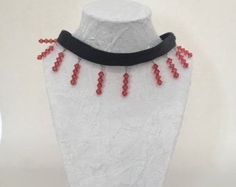 Pink recycled glass beads black leather Choker