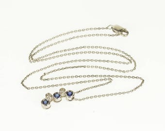 """14k Diamond Sapphire Bezel Inset Squared Cable Necklace Gold 15.5"""""""