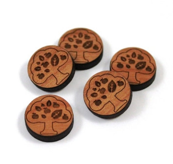 Laser Cut Supplies-8 Pieces.Apple Tree Disc Charms-Acrylic and Wood Laser Cut-Jewellery Supplies-Little Laser Lab Wood and Acrylic Products