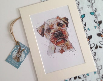 Animal Print, Border Terrier, Dog Painting, Pet, Animal Drawing, Wall Art, Ready to Frame, Colourful Illustration, Animal Art, Watercolour