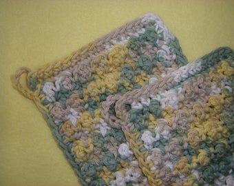 Two Bumpy Cotton Washcloths, handmade crochet washcloth dishcloth set - green, tan, gold, and white, Country Sage Ombre