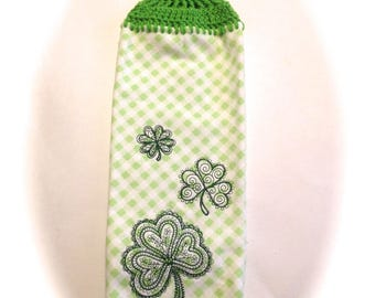 Green And White Checkered Shamrock Trio Hand Towel With Spring Green Crocheted Top