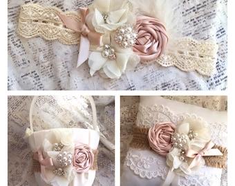 Blush flower girl basket and ring bearer pillow, blush basket and pillow set, flower girl basket blush, rustic flower girl basket