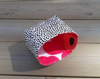 Fabric Basket Organizer Bin Container Storage Box made from Marimekko fabric, stocking stuffer, pink nursery baby room decor, gift basket