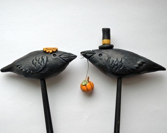 BLACK Bird wedding cake topper for the Rustic Wedding with Pumpkin and Sunflower
