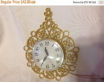 On Sale Scrolled Wall Mount Electric Clock by General Electric Kitchen Clock Vintage Clock