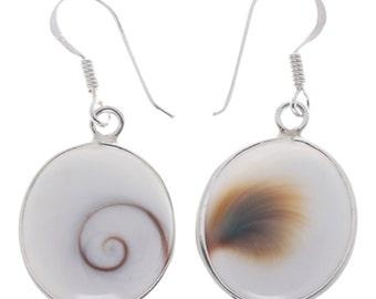 Shivaauge Silver earrings oval 10 mm earrings 925 Silver Shiva domed eye eye ladies jewelry (No. OSH-97-10)