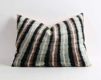 ikat velvet pillow, ikat pillow cover, velvet pillow, 16x22 decorative pillow cover, handwoven ikat pillow