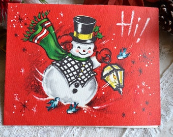 Vintage Christmas Card - Hi Snowman Lantern and Blue Birds - Used Mid Century