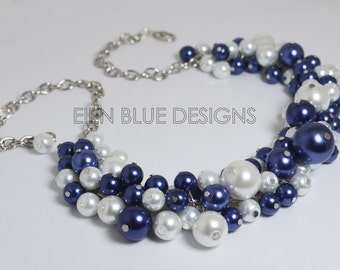 Navy & White Pearl Necklace, White/Navy Cluster Necklace, Chunky Necklace, White and Navy Bridesmaid Necklace, White Necklace, FREE SHIPPING