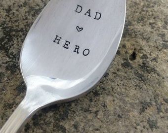 """Hand Stamped """"Dad, Hero"""" Vintage spoon hand stamped with your message"""