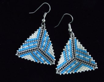 Striped Border Peyote Triangle Earrings, Delica Seed Bead Earrings, Beaded Earrings, Seed Bead Earrings