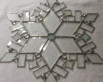 Stained Glass Beveled Snowflake - Large