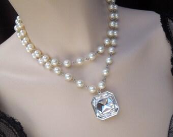 pearl necklace, bridal rhinestone necklace, Statement Bridal necklace, Wedding Rhinestone necklace, rhinestone and pearl necklace, SAHARA