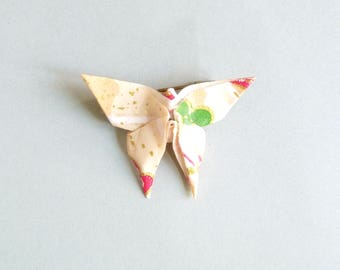 Beige, white, red and golden Butterfly Origami Brooch, in folded Japanese Paper