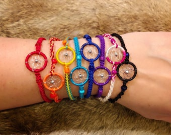 Dreamcatcher Bracelet - Sold Individually - Friendship Bracelet - Woven Bracelet - Dream Catcher Bracelet - You Choose Color