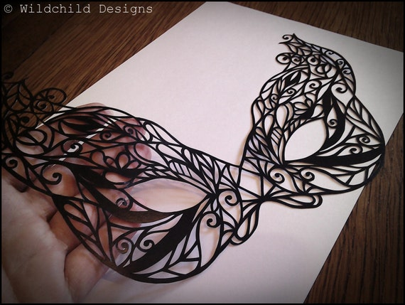 Gothic Masquerade Mask Paper Cutting Template