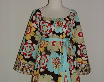Scoop Neck Tunic TOP or DRESS - Alexander Henry - Made in ANY Size - Boutique Mia