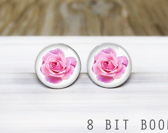 Pink Rose Stud Earrings - Hypoallergenic Earrings for Sensitive Ears