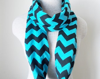 READY TO SHIP - Chevron Infinity Scarf - Jersey Knit - Turquoise and Black - Limited Edition