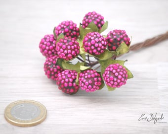 10 fuchsia Berries stems, Crafts Floral Accents, Floral Supplies, Artificial Fruit Millnery Berries, wreath supplies, millinery supplies