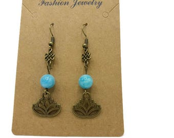 Aquamarine gemstone earrings, Chinese knot and lotus flower bronze gift women - Made in France - B084