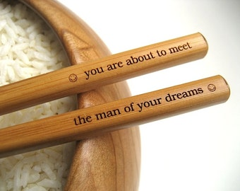 Chopsticks - Set of 22 - Fortune Cookie Chopsticks - Custom Engraved Chopsticks - Create Your Own