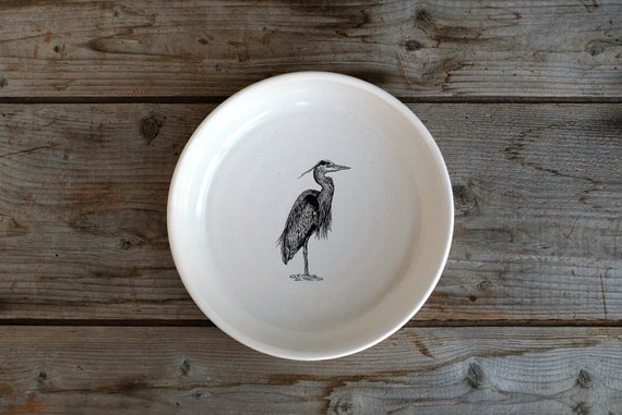 Handmade Porcelain shallow bowl/pasta bowl with Great Blue Heron drawing by Cindy Labrecque, Canadian Wildlife collection