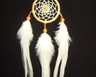Gold Brown Hoop Small Dream Catcher With White Feather / Home Decor / Car Mirror