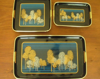 Vintage Japanese black nesting trays (3)