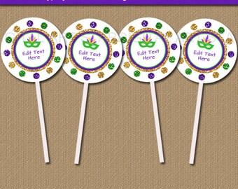 Mardi Gras Cupcake Toppers Printable, Mardi Gras Party Ideas, Mardi Gras Party Decorations, Favor Tags, Favor Labels, Favor Stickers M2
