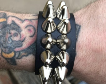 Double row studded snap bracelet