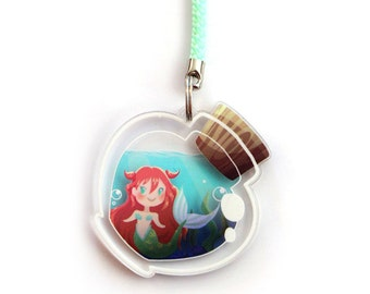 Doublesided 1.5 Inch Bottle Mermaid Charm