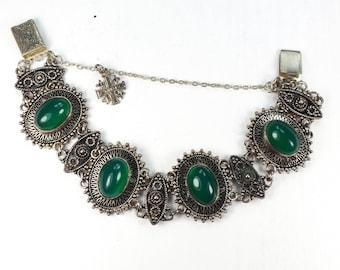 Vintage Sterling Silver Jerusalem Bracelet Sterling Green Stone Bracelet Sterling Cabachon Chrysoprase Sterling Jersalem Cross Bracelet