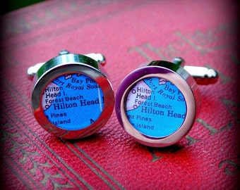 Hilton Head Map Cuff Links