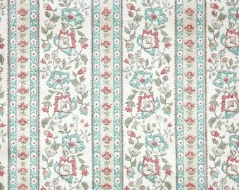 Retro Wallpaper by the Yard 70s Vintage Wallpaper - 1970s Floral Stripe Red and Blue on White