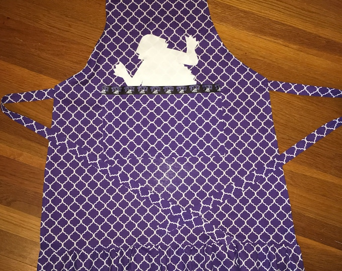 TCU Peekaboo Horned Frog Ruffled Apron TCU Kitchen