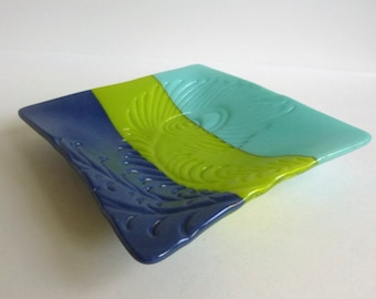 Peacock Feather Imprinted Dish in Turquoise, Green and Cobalt Opaque Fused Glass by BPRDesigns