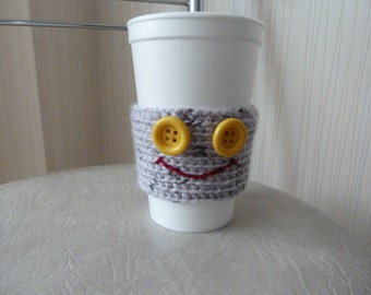 ON SALE Knitted Cup Cozy/ Coffee Cup Cozy with smile  / Grey Coffee Cozy /Knit Cup Cozy