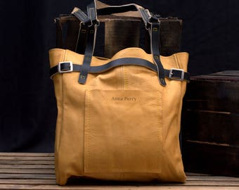 Large Leather Tote Bag CarryAll - Ladies Bag - Women Handbag - Handcrafted School bag - Soft Leather Shopping Bag - Leather Laptop Bag