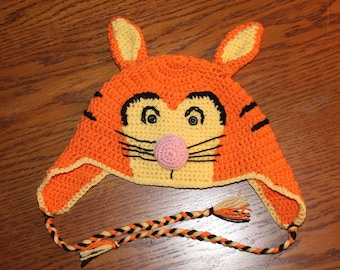 a hat, children, fantasy animal, Tigger, orange, hand crocheted