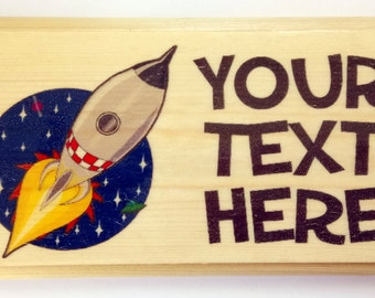 Personalised Rocket Plaque / Sign / Gift - Your Text Space Alien Boys Bedroom