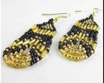 Native American Style Beadwork Seed Bead Earrings Gold and Black Loop De Loops