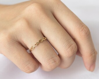 Dainty Half Braided Ring, Solid 14K Gold Ring, Stackable Ring, Stacking Ring, Braided Wedding Band, Thin Stacking Ring, Dainty Ring,