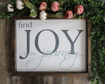 Framed Rustic Farmhouse Wood Sign | Find Joy In The Journey | Farmhouse Wood Sign Decor | Rustic Home Decor | READY TO SHIP