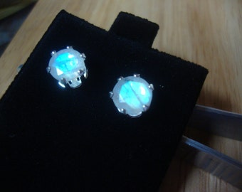 Rainbow Moonstone Earrings Amazing Blue 7mm 3.7ct n prongs Simple post studs- natural, eco-friendly recycled sterling silver June Birthstone