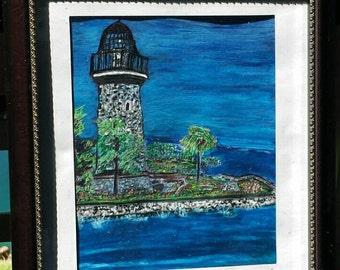 Acrylic littlehouse painting, Lighthouse decor, Lighthouse wall art, Lighthouse wall decor, Nautical decor, Nautical wall art