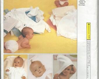 Vogue Pattern 1090 Layette Gown Kimono Jumpsuit Bath Towel Wash Cloth, Sheet Blanket Vintage for Knit & Woven Fabrics